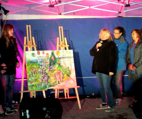 Isabelle MALO, painter and her guests Ginette Boisvert and Diane Cardill, painted live for the Canadian Cancer Society